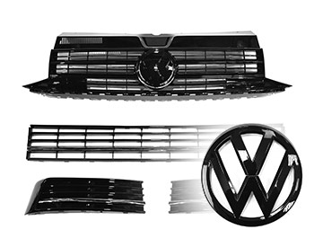 VW T6 Gloss Black Grilles w/ Lower Chrome Trim + F Badge