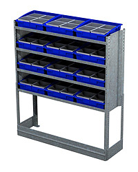 4 Shelf Unit With Polypropylene Removable Bins 4 Inserts in Each