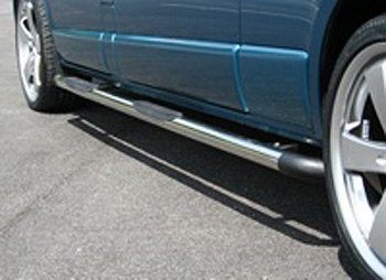 Safety SIDE STEPS Polished Connect 2003- Black End Corners
