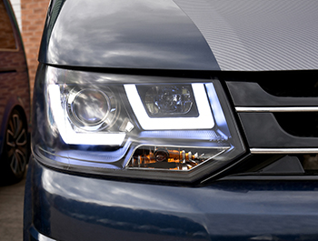 VW T5 LED Type-RS DRL Performance Headlamp 2010-15 Black