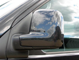 Carbon & Brushed Alloy Effect Mirror Covers VW T5 & VW Caddy