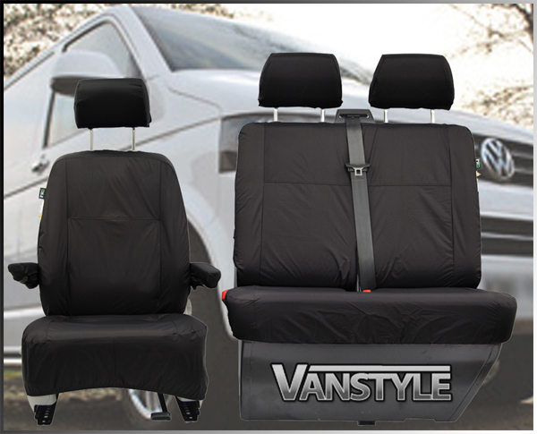 VW T5 Black Tailored Front Seat Cover Set Single Twin