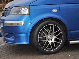 """Calibre Exile Black / Polished 18\"""" VW T5 Wheel & Tyre Package"""