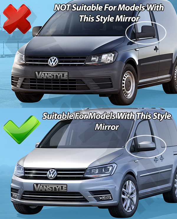 VW Caddy & Maxi Life 2015>2021 ABS Chrome Mirror Covers