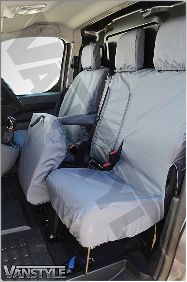 Front Three Seat NO Work Tray Grey Seat Covers Waterproof Peugeot Expert 2016