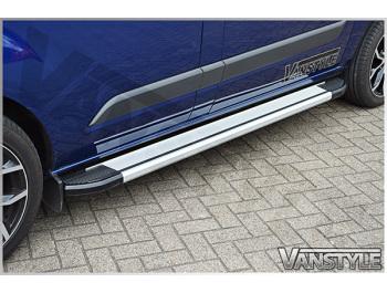 Silver Side Step Running Board Aluminium Ford Transit Custom