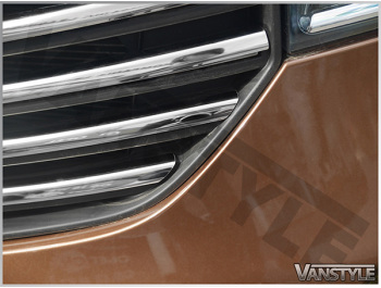 4Pcs Polished Stainless Front Upper Grille Trim - Vivaro 14>