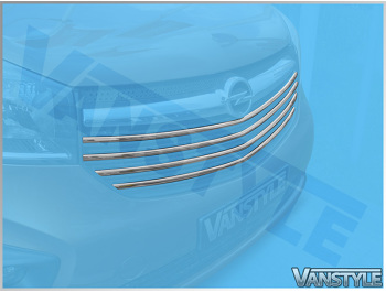 4Pcs Polished Stainless Front Upper Grille Trim - Vivaro 14>