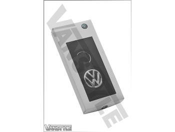 Genuine Volkswagen Key Ring/Tag Leather & Polished VW Logo