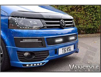DRL Vanstyle Sport Black Lower Mesh Grille With DRL Lamps VW T5