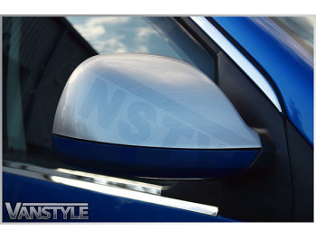 Brushed Silver Effect Mirror Covers VW T5 10-15 & Amarok 10>
