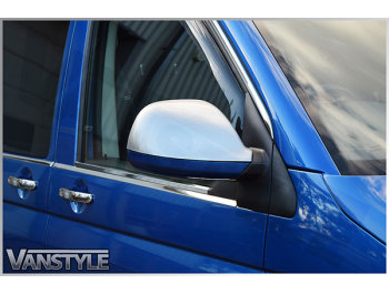 Mirror Covers Brushed Silver Effect VW T6 2015>