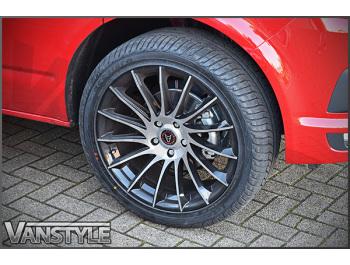 "Wolfrace Eurosport Aero Black Polished 20\"" VW T5 T6 Wheel & Tyre"