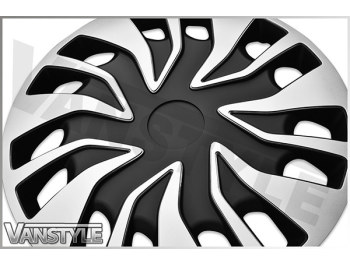 Fast Van Black & Silver Wheel Trims - ABS - Set of 4
