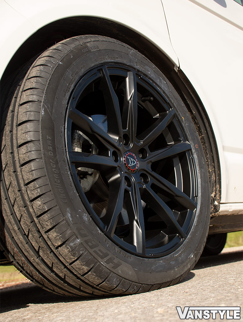 Wolfrace Dortmund Matte Black 18in Wheel & Tyre Set - VW T5 T6