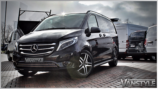 mercedes vito tourer 2pc s s lower front grille trim 14 vanstyle. Black Bedroom Furniture Sets. Home Design Ideas