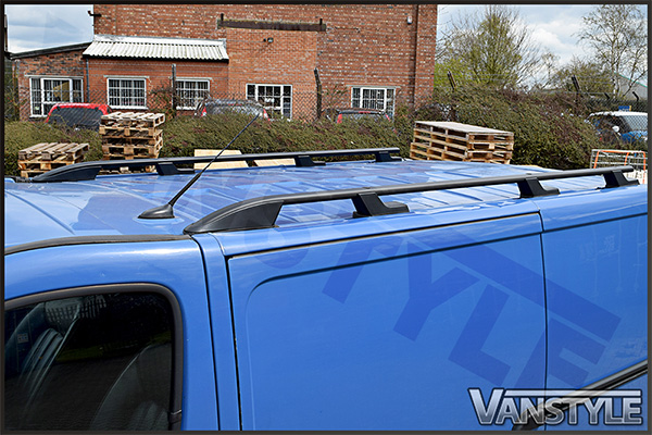 Black Aluminium Roof Bars Rails Fixing Set for Renault Trafic 01-14 SWB