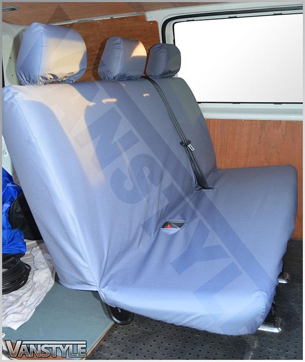 Blue Camo Rear Triple Bench Seat Covers for VW Transporter T6 Kombi 2015 on