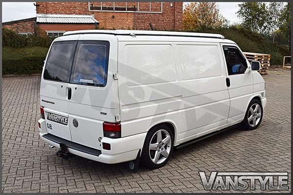 vw t4 swb 60mm black steel straight side bars vanstyle. Black Bedroom Furniture Sets. Home Design Ideas