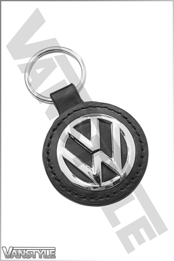 genuine volkswagen key ring tag leather polished vw logo