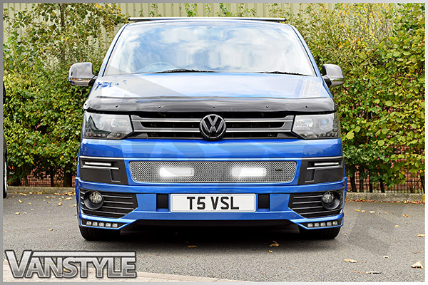 DRL Vanstyle Sport Polished Lower Mesh Grille With DRL Lamps VW