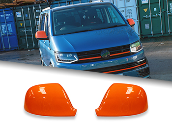 Gloss Orange ABS Side Wing Mirror Cover Pair - VW T5 T6 & Amarok