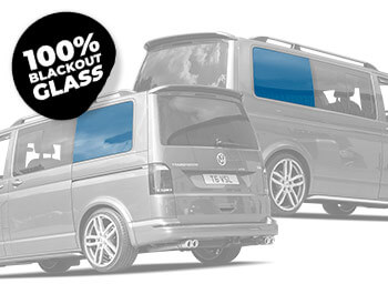 Full Blackout Left/Right Rear Fixed Privacy Glass - VW T5/T6 LWB