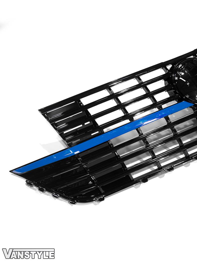 Gloss Black Badged Grille & 2pcs Lower Blue Ed. Trim - VW T6.1