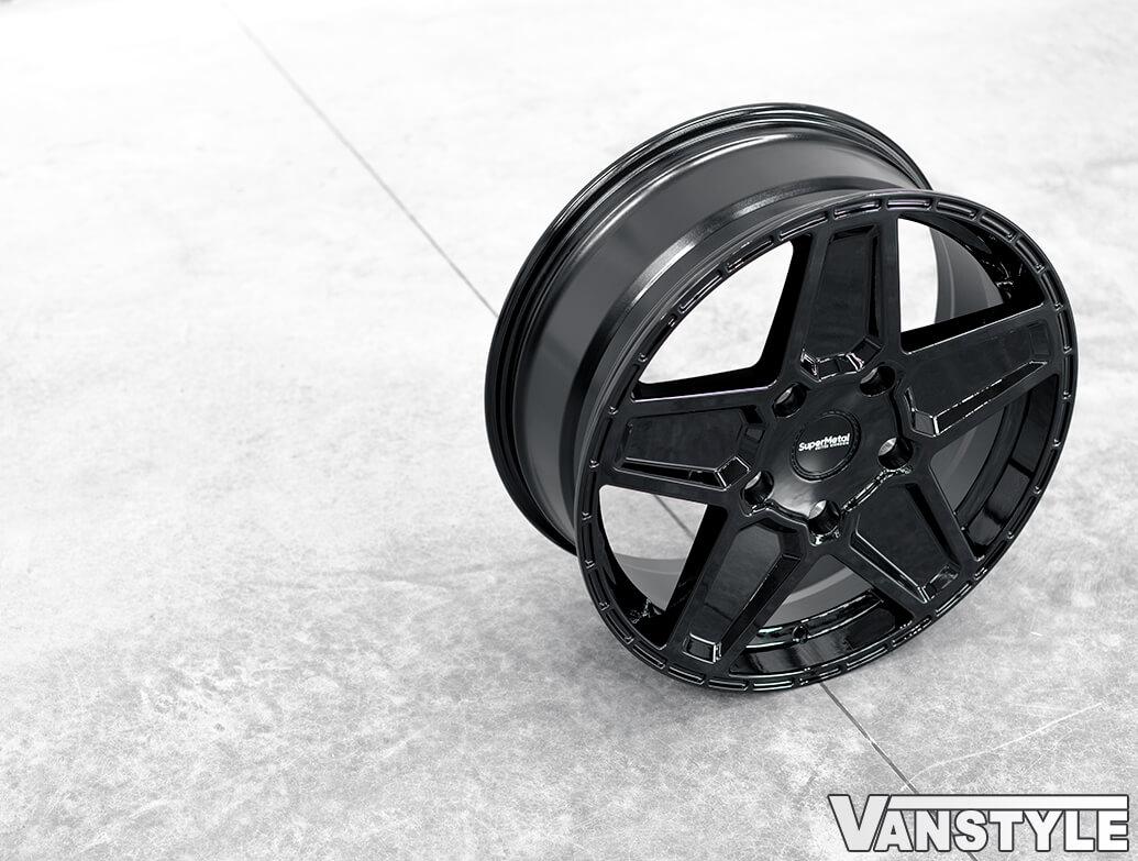 SuperMetal Rocket 20x9J 5x120 Gloss Black Alloy Wheels - T5 T6