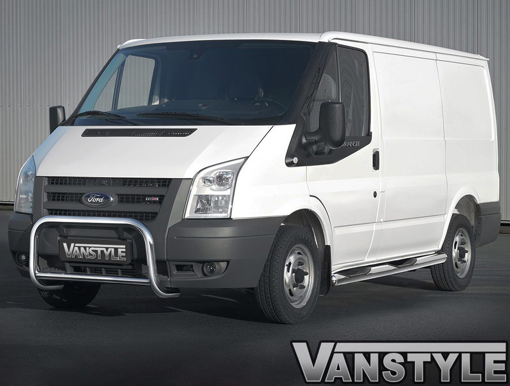 MWB Cobra 80mm S.Steel Side Bars With Steps - Ford Transit 00-14