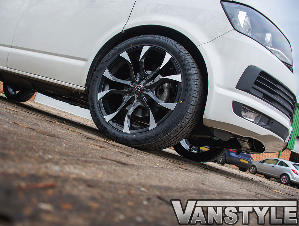 "Wolfrace Assassin Black & Polished 20\"" VW T5 T6 Alloy Wheels"