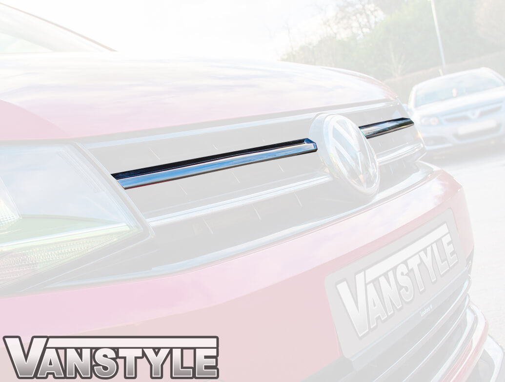 VW Caddy & Maxi 2015> 2Pcs Stainless Front Grille Trim