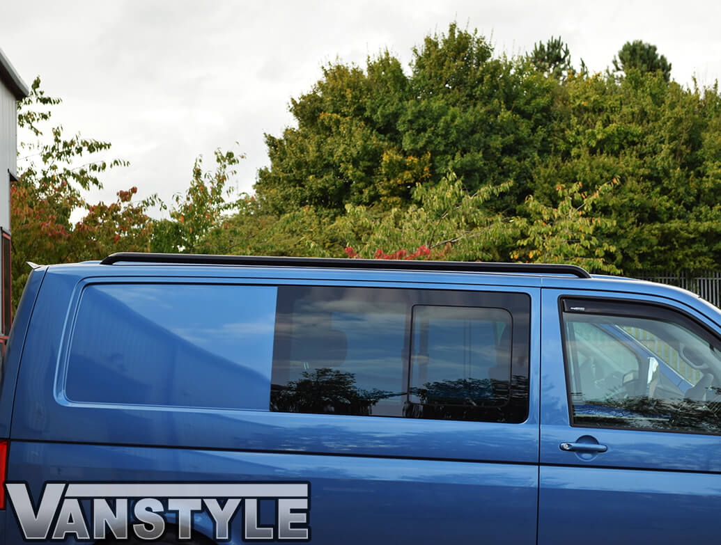 Black Powder Coated Roof Bars (One Piece) - VW T5 T6