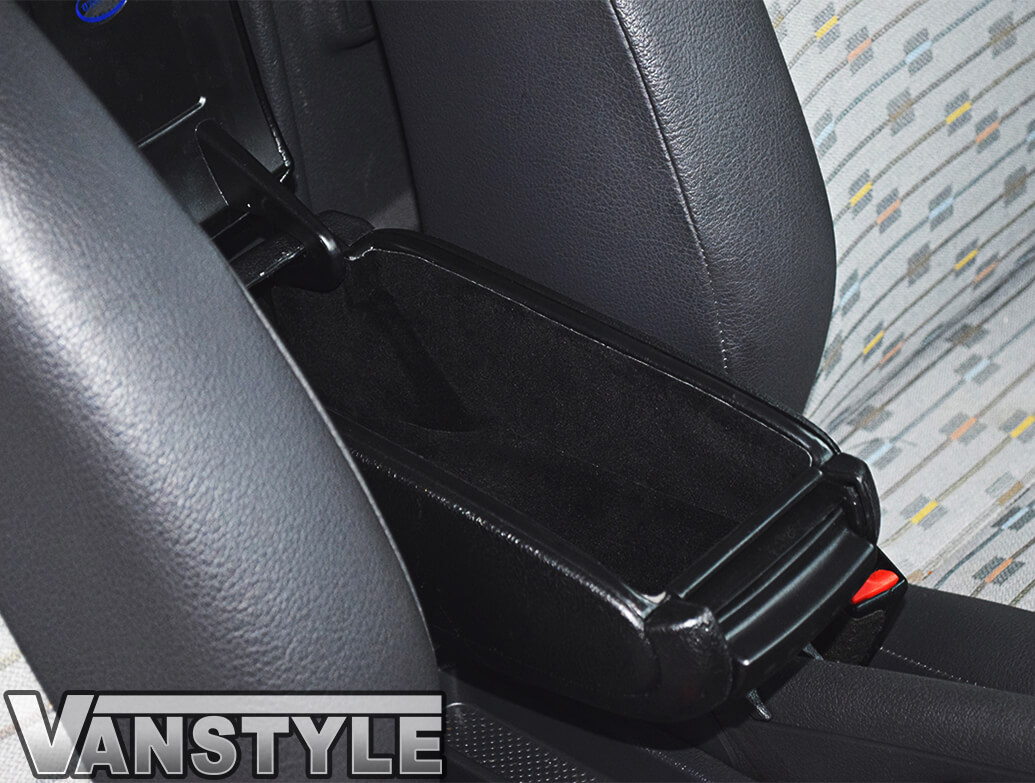 Black Leatherette Adjustable Armrest Box VW Caddy 2004-15