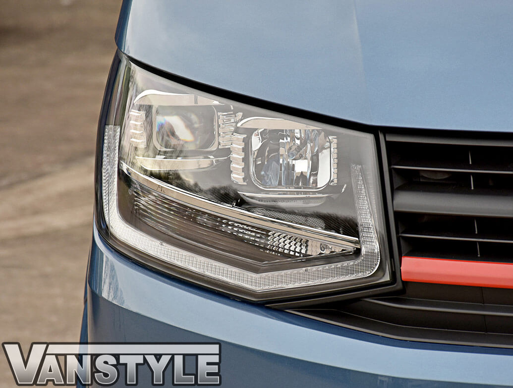 Black LED DRL Headlights + Beam Conversion Kit - VW T6 2015>