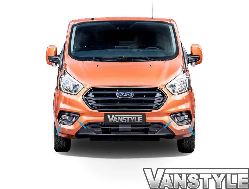 2-Piece Polished S.Steel fog light trims – Ford Transit Custom