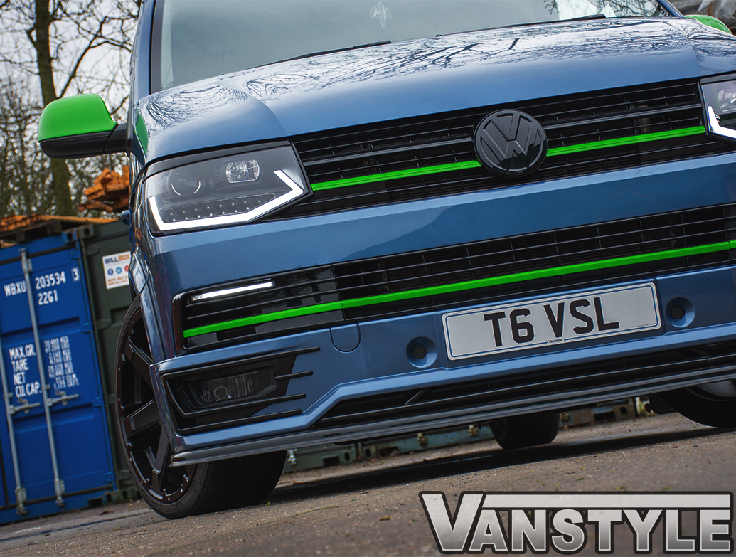 Gloss Green Upper Grille 2 Piece Trim Inserts - VW T6 2015-19