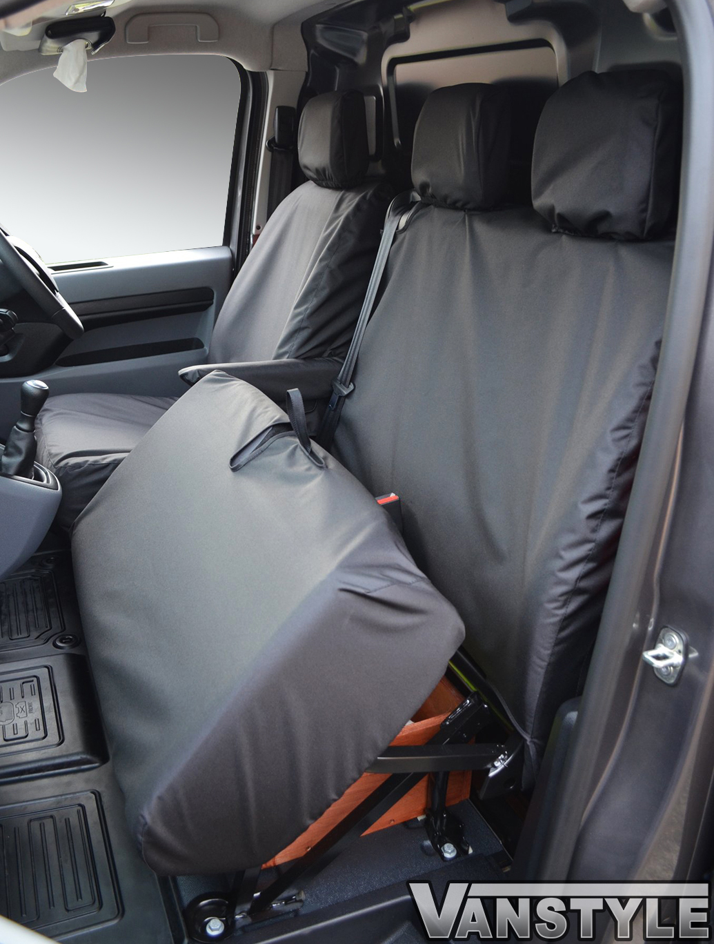Black Waterproof No Worktray Seat Cover Dispatch/Expert/Proace