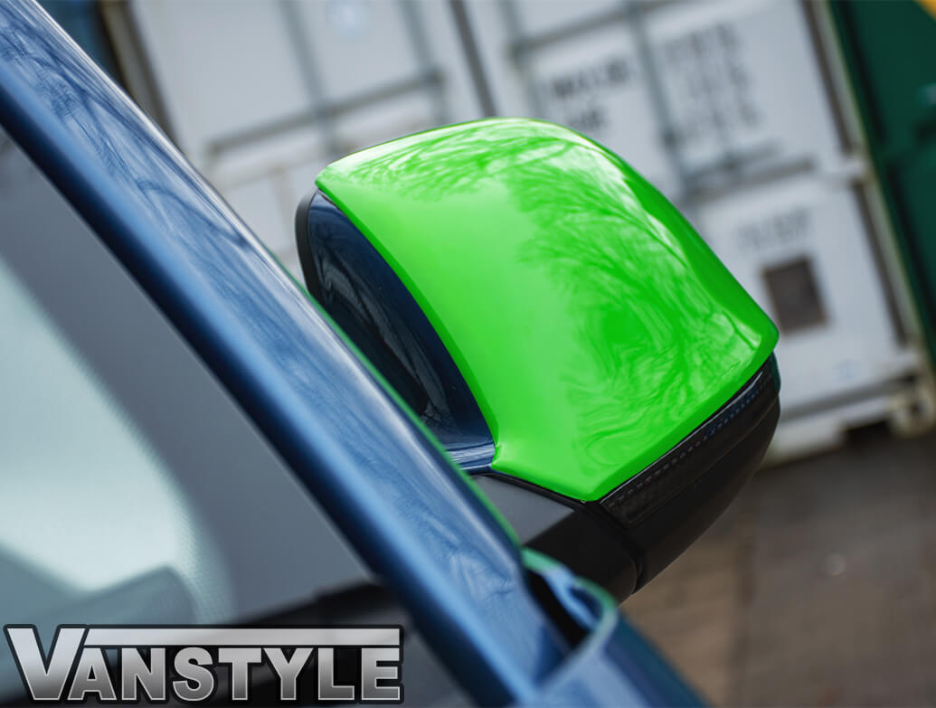 Gloss Green ABS Side Wing Mirror Cover Pair - VW T5 T6 & Amarok
