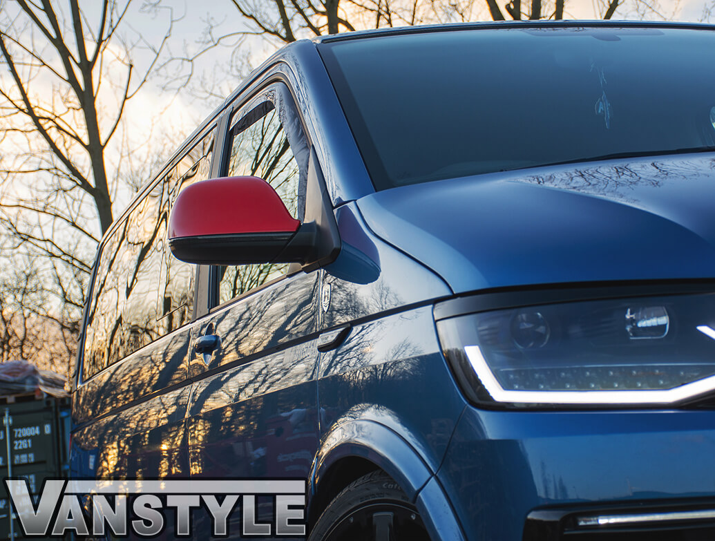 Gloss Red Wing Mirror Covers - VW T5 & T6 10-15> & Amarok 10>