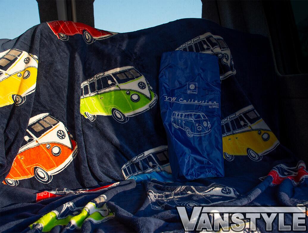 "Genuine VW Collection \""VW T1 Bus\"" Blue Fleece Blanket"