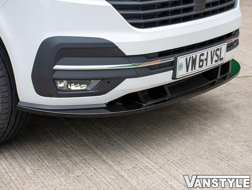 VW T6.1 19> 3Pcs Sport ABS Gloss Black Lower Front Lip Splitter