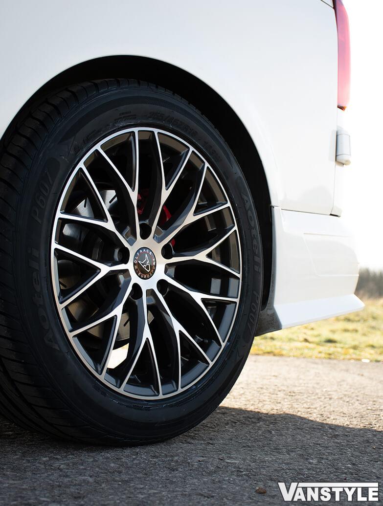 "Wolfrace Wolfsburg Gun Metal Polished 18\"" Alloy Wheels VW T5 T6"