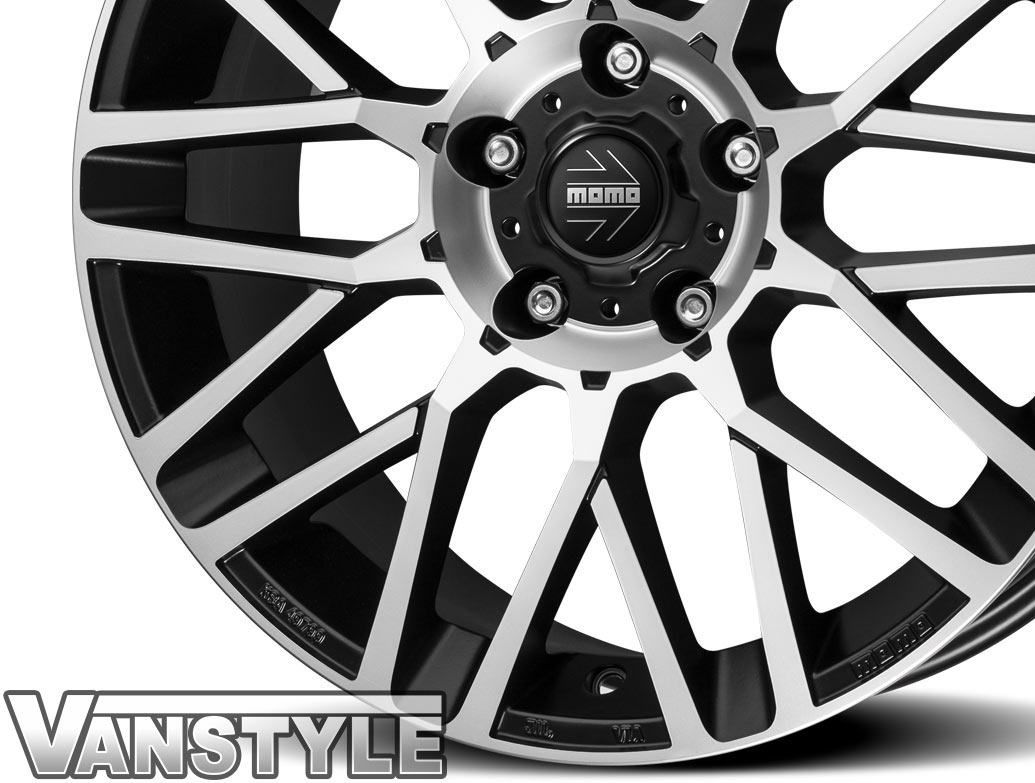 "MOMO Revenge Matte Black Diamond Cut 20"" VW T5 T6 Alloy Wheels"