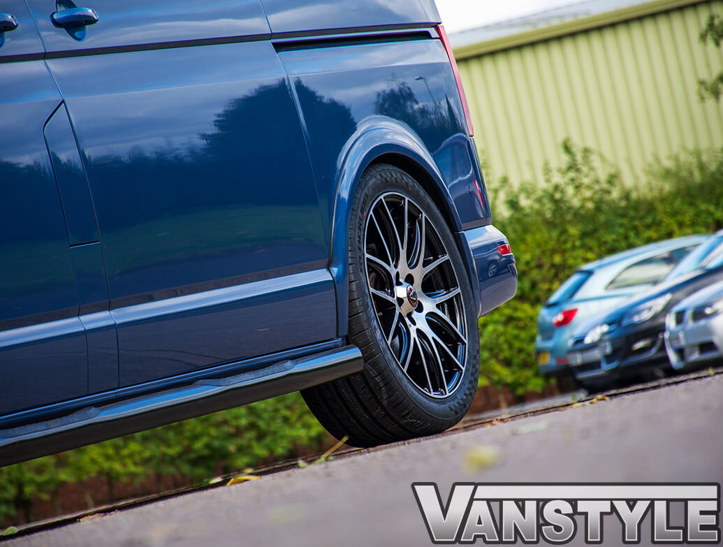 """Wolfrace Munich Black & Polished 20\"""" VW T5 T6 Alloy Wheels"""