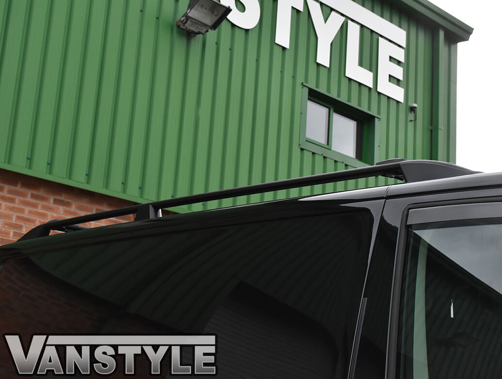 VW T5 & T6 SWB Black Roof Bars & Cross Bar Set
