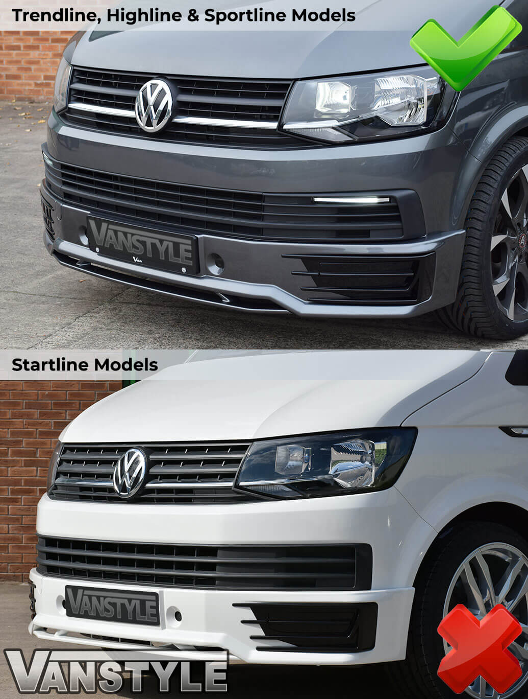 Gloss Black Badgeless Grille - VW T6 2015>