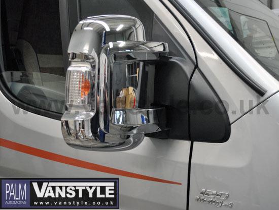ducato boxer relay chrome door mirror covers  vanstyle