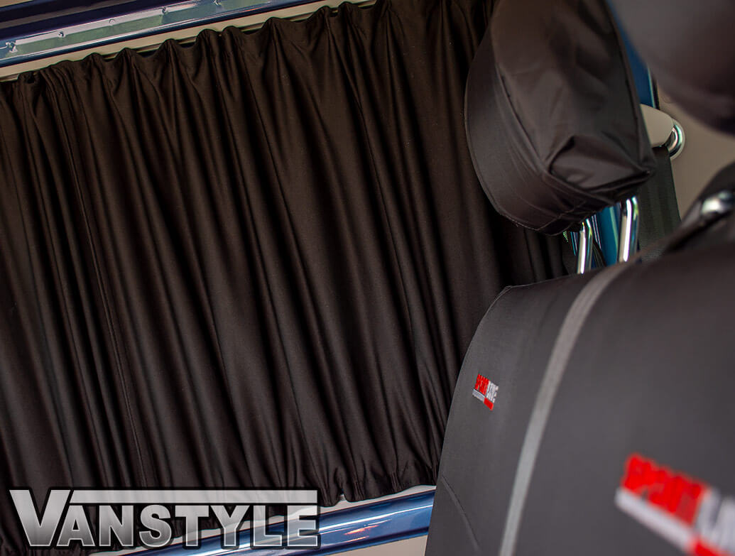 Tailored Blackout Curtain - Black - Rear Quarter SWB - VW T5/T6