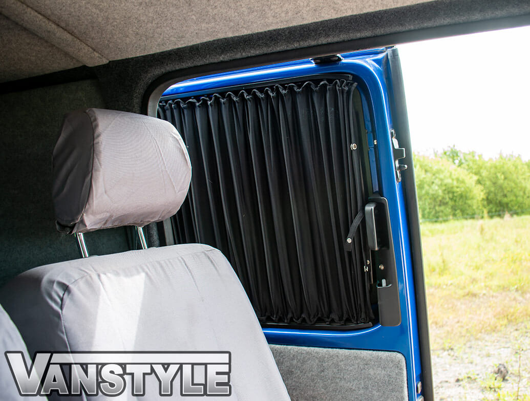Tailored Blackout Curtain - Black - Rear Quarter LWB - VW T5/T6